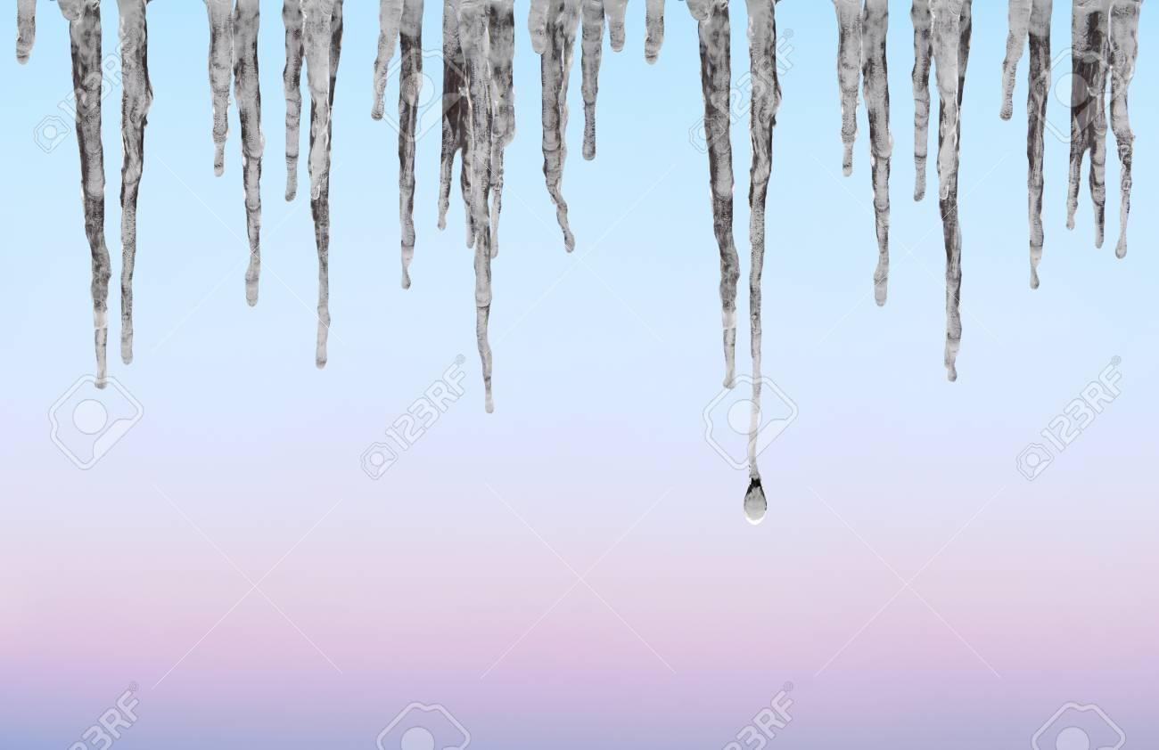 Glacons Sur Le Ciel Bleu Rose Et Violet Et Banque D Images Et