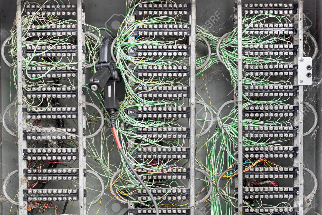 Messy Dirty Electric Box With Connections And Colored Wires Stock Wiring Photo 56587579