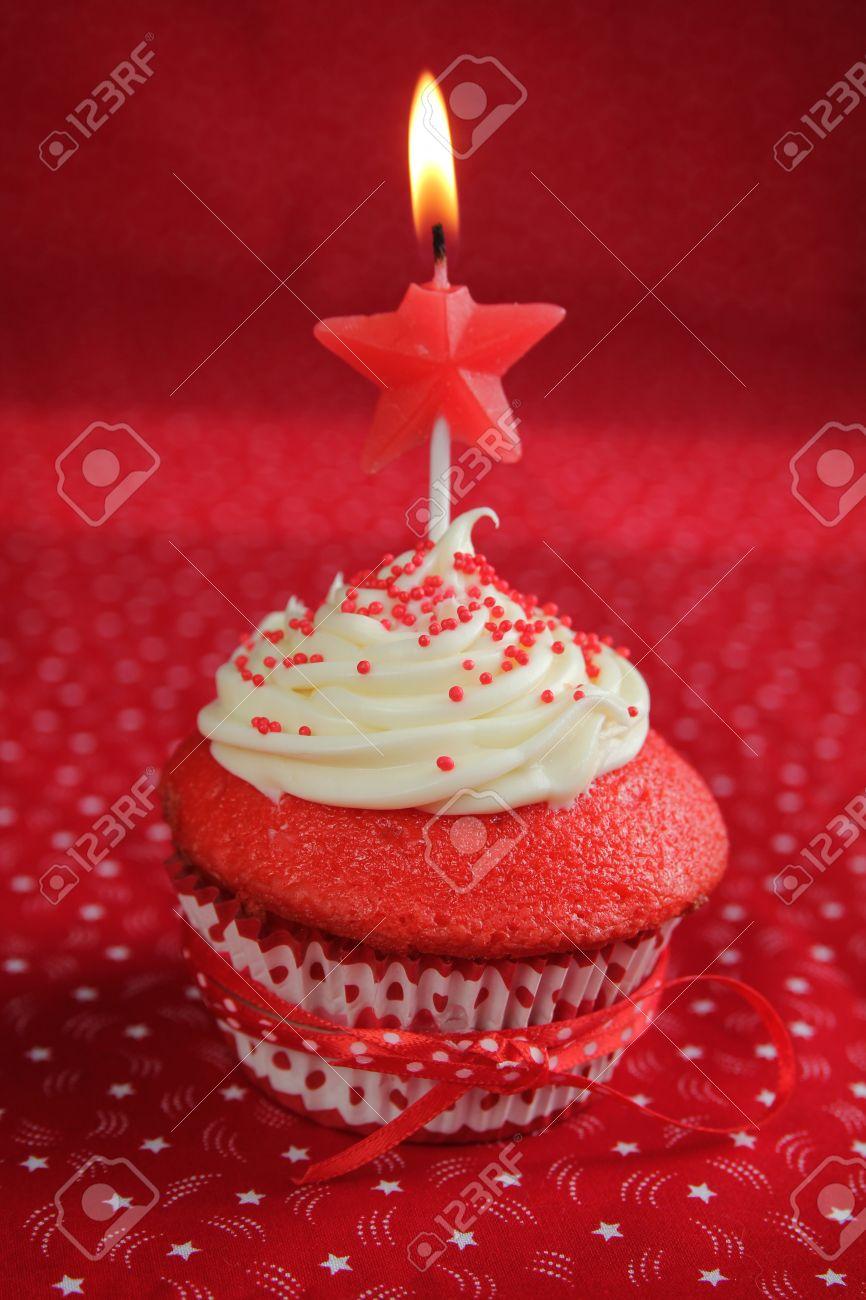 Red Velvet Birthday Cupcakes Red Velvet Cupcakes on a Red