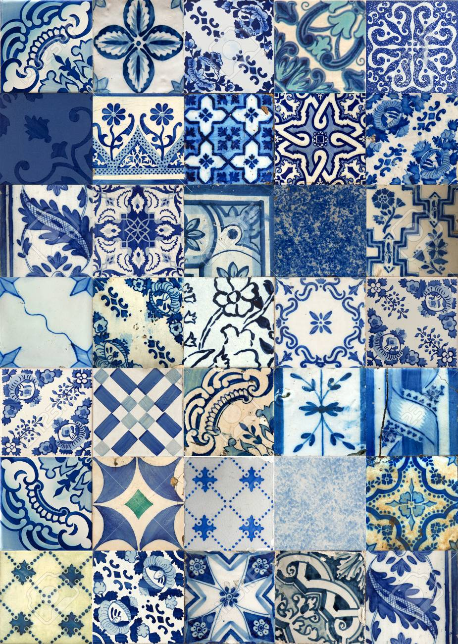 Set Of Different Blue Patterns Tiles In Lisbon, Portugal Stock Photo ...