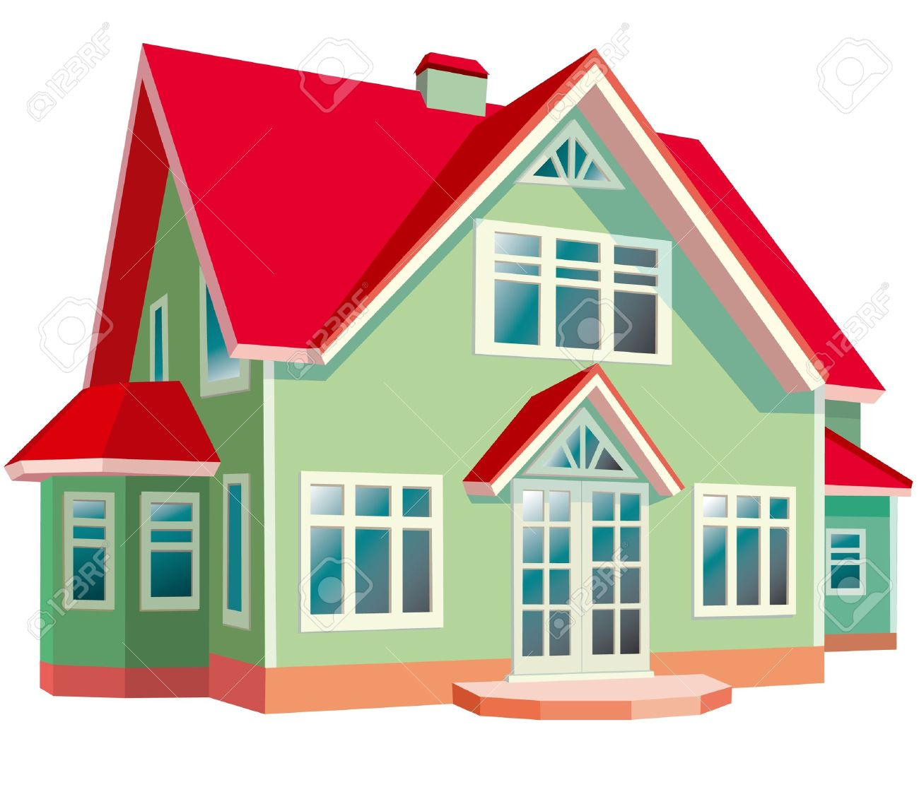 house with red roof on white background stock vector