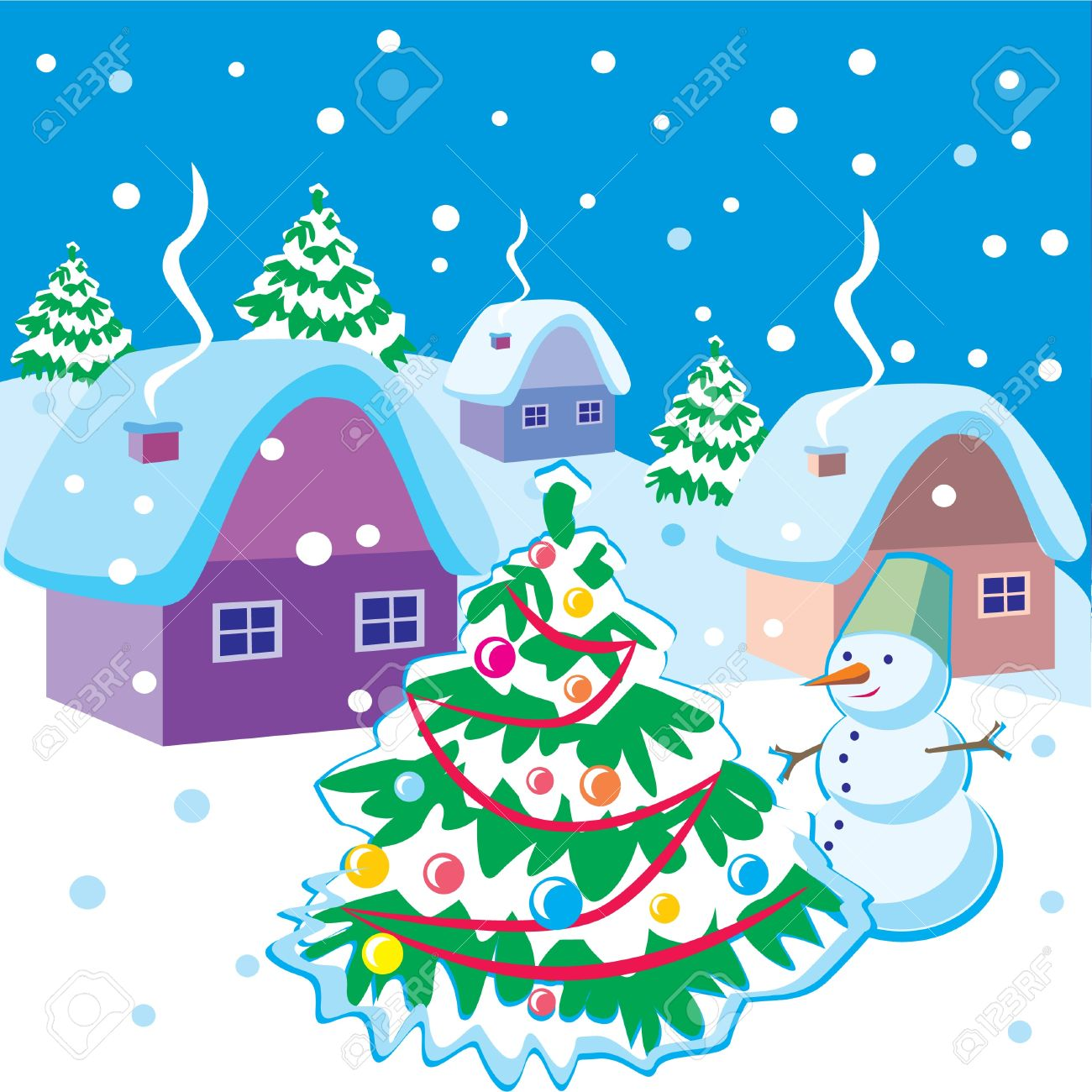 Landscape with snowman and Christmas tree Stock Vector - 10032768
