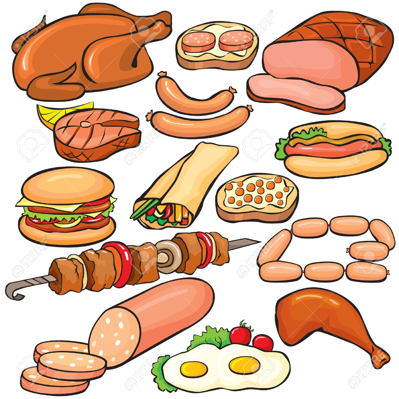 Meat products icon set Stock Vector - 10032801