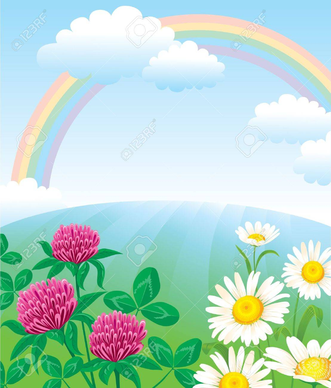 Summer landscape with rainbow Stock Vector - 10673672
