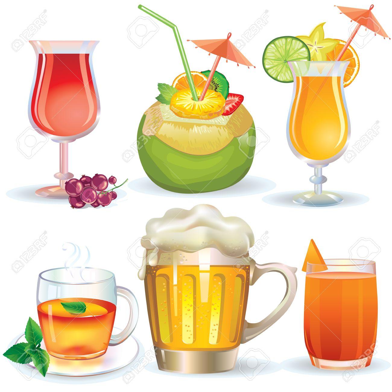 ドリンク、ジュース、アルコール飲料のイラスト ロイヤリティフリー