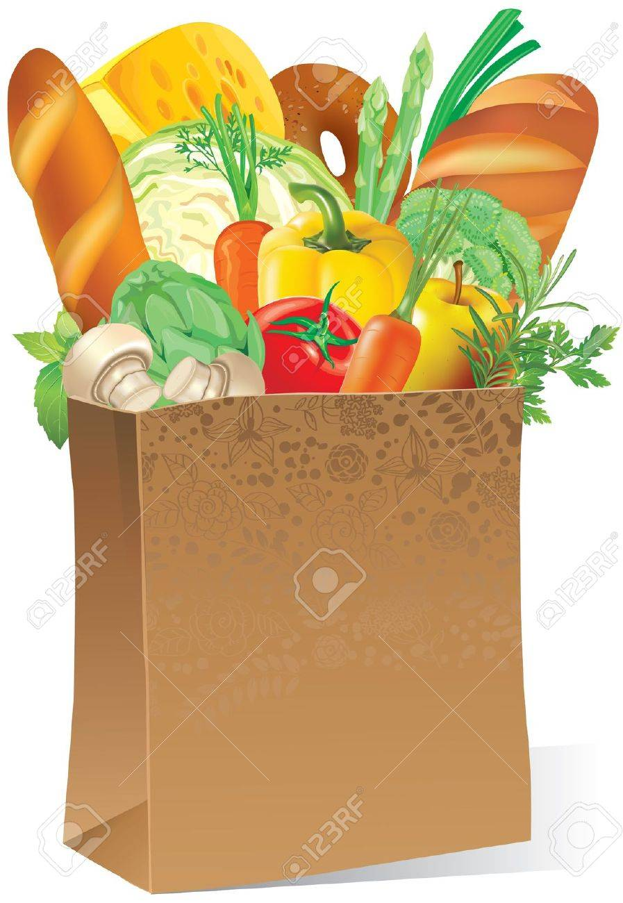 Illustration of paper bag with food Stock Vector - 14175733