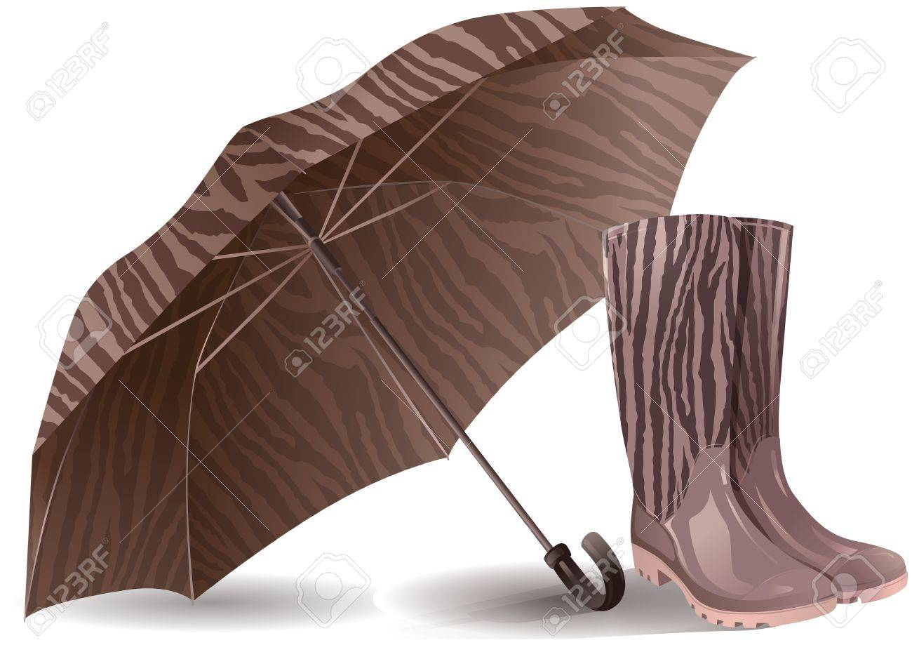 Illustration of umbrella and rubber boots. Contains transparent object. Stock Vector - 14509762