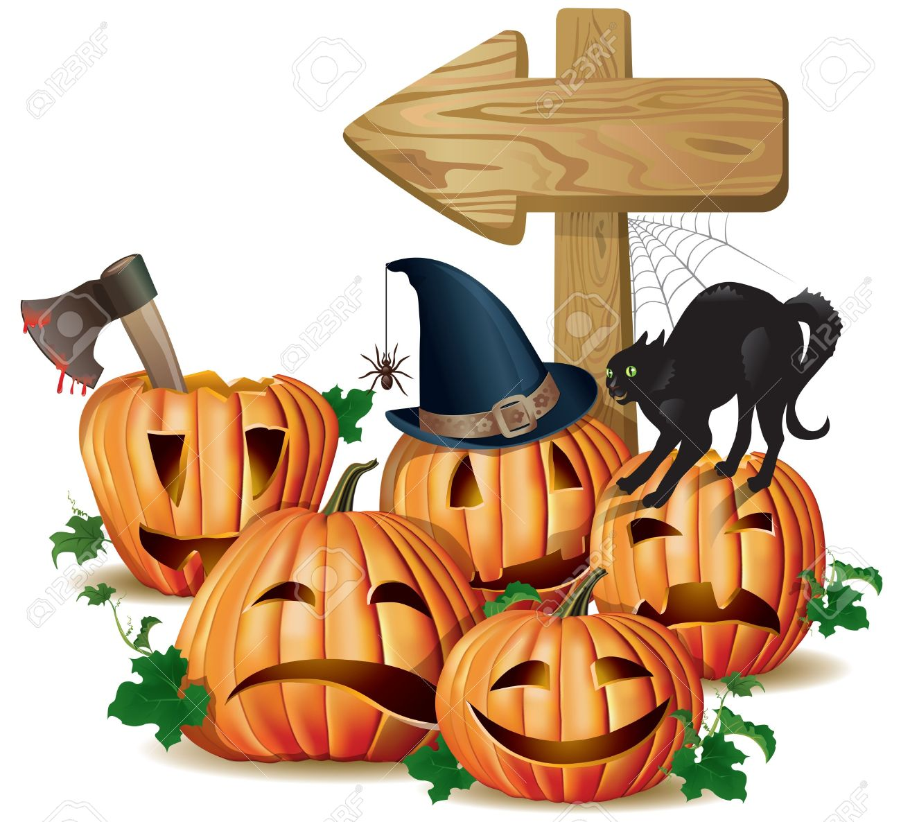 Halloween wooden sign board.Contains transparent object. EPS 10. Stock Vector - 15202769