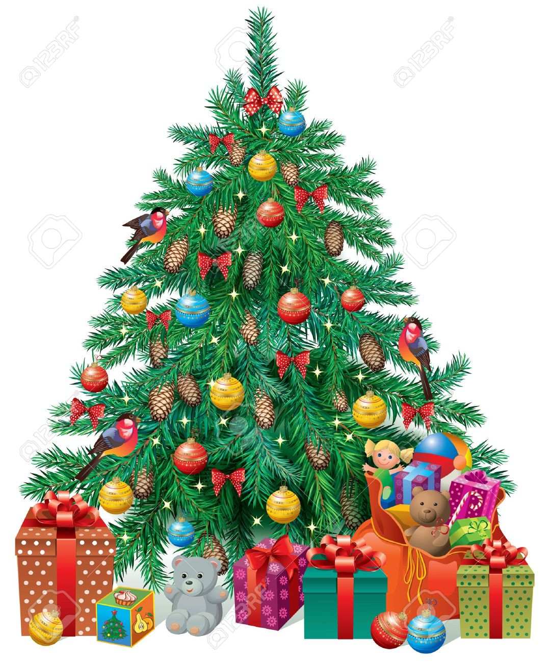 Real christmas trees with presents - Spruced Christmas Tree With Gifts And Toys Contains Transparent Objects Stock Vector 15337809