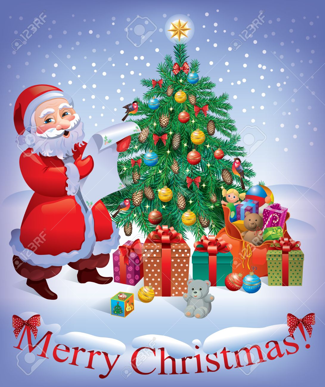Merry Christmas Card With Santa And Christmas Tree Contains
