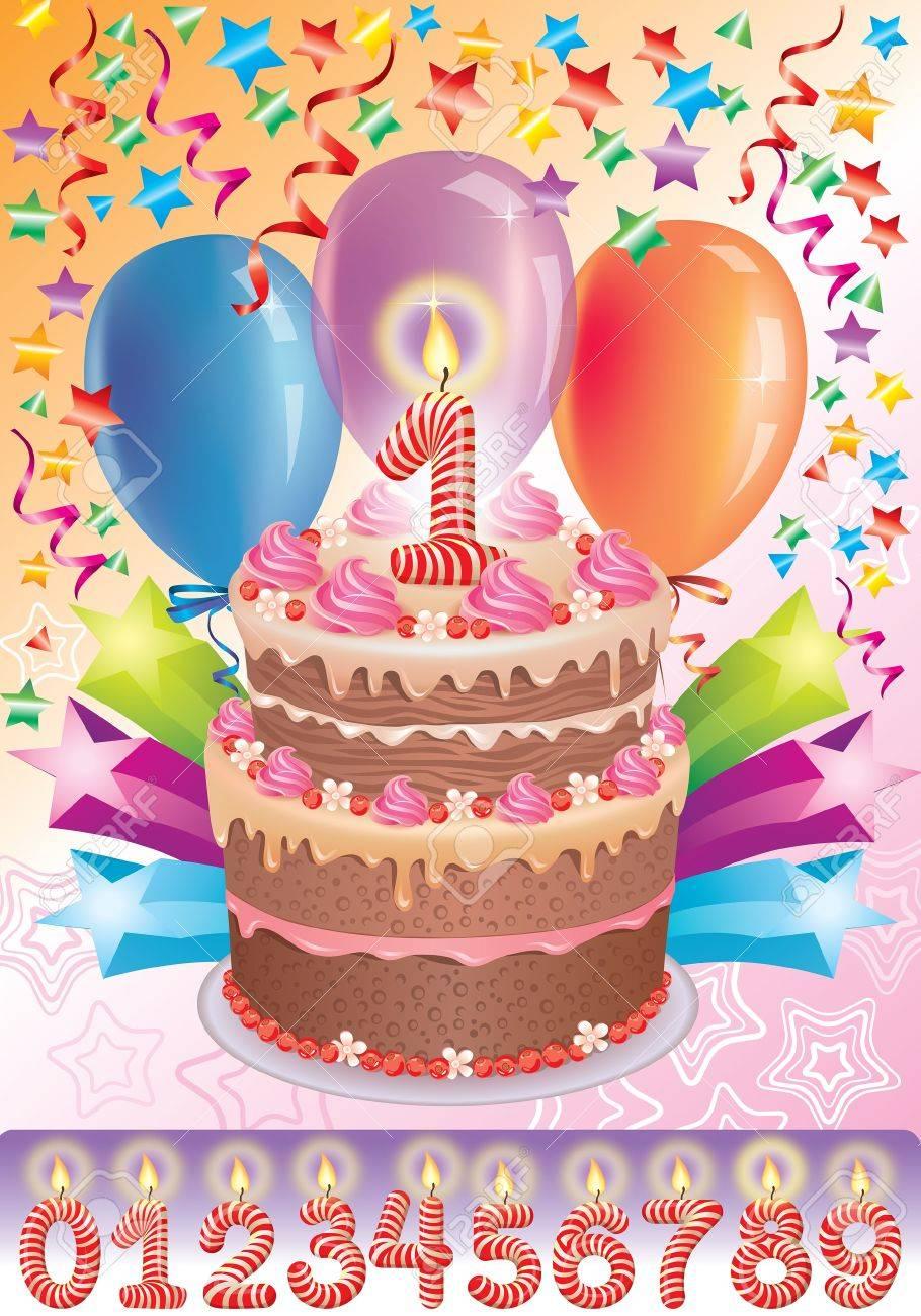 Vettoriale Torta Di Compleanno Con L Eta Numero Image 15806976