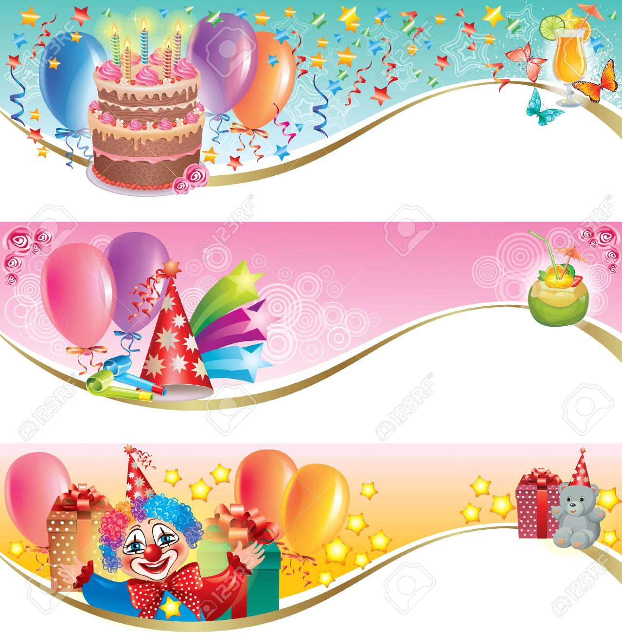 Decorative birthday banners.Contains transparent objects. Stock Vector - 15829472