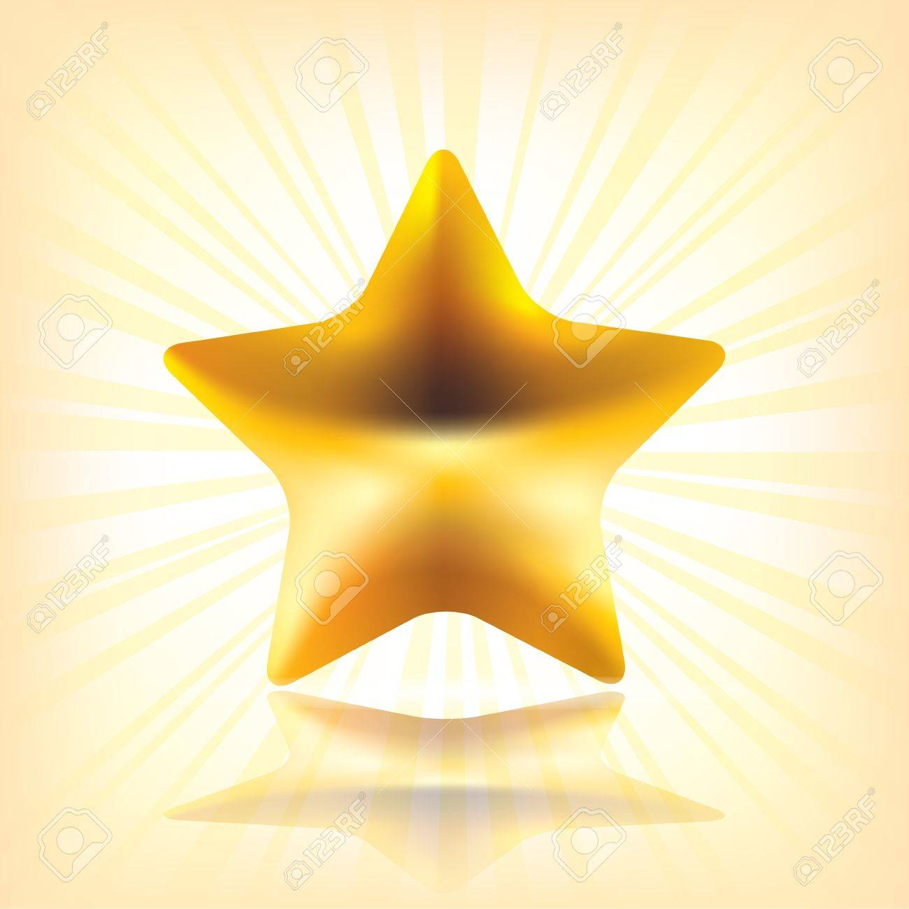 Golden Star.  Illustration contains transparent object. EPS 10. Stock Vector - 16459538