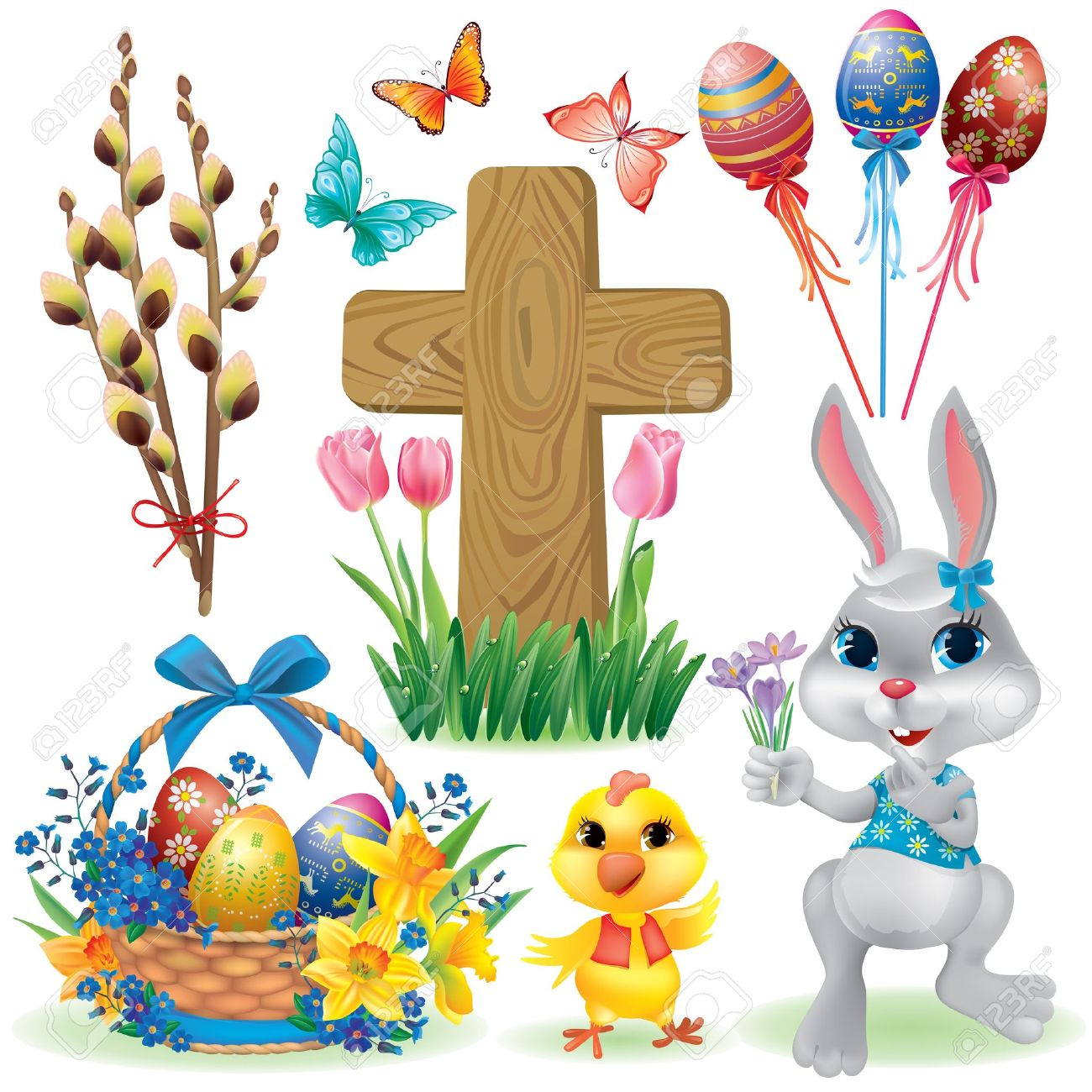 Easter symbols set. Contains transparent objects. Stock Vector - 17321970