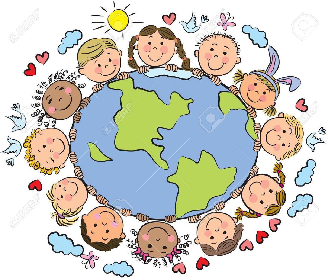 Kids of the Earth. Contains transparent objects. Stock Vector - 17613858