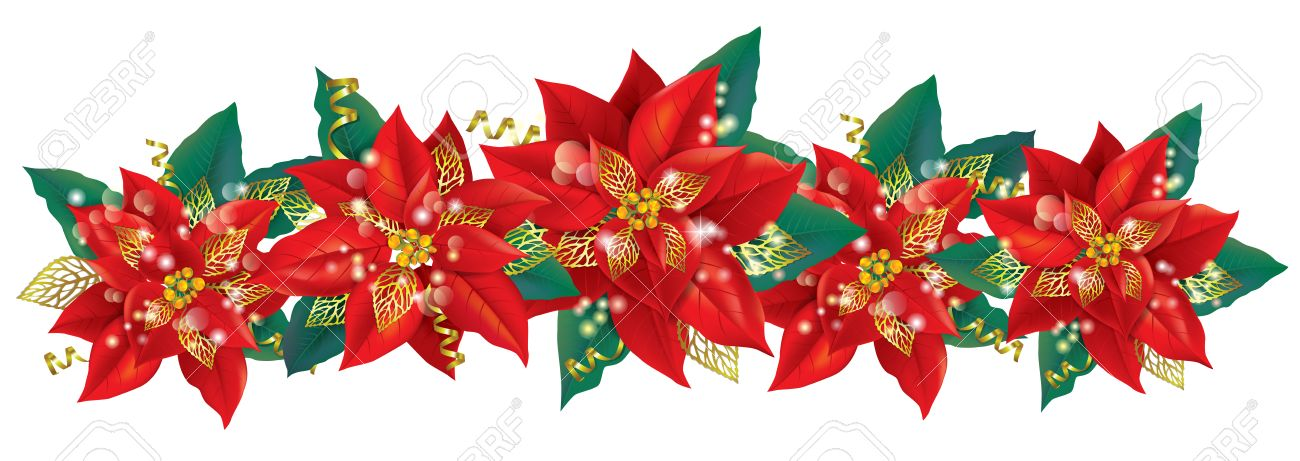 Christmas Garland Of Poinsettia Contains Transparent Objects