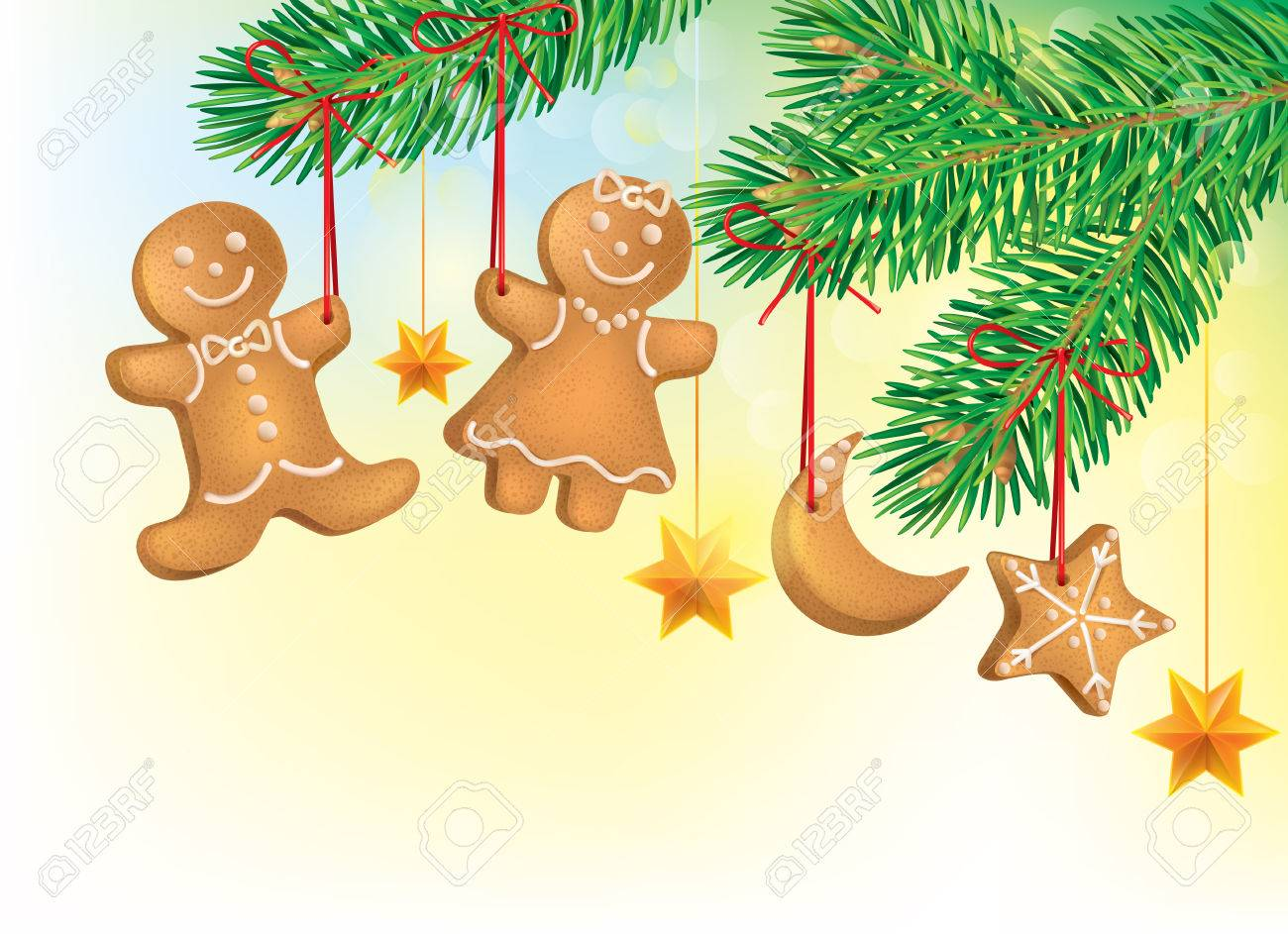 Christmas tree decorated with Christmas cookies. Contains transparent objects. EPS10 Stock Vector - 23470717