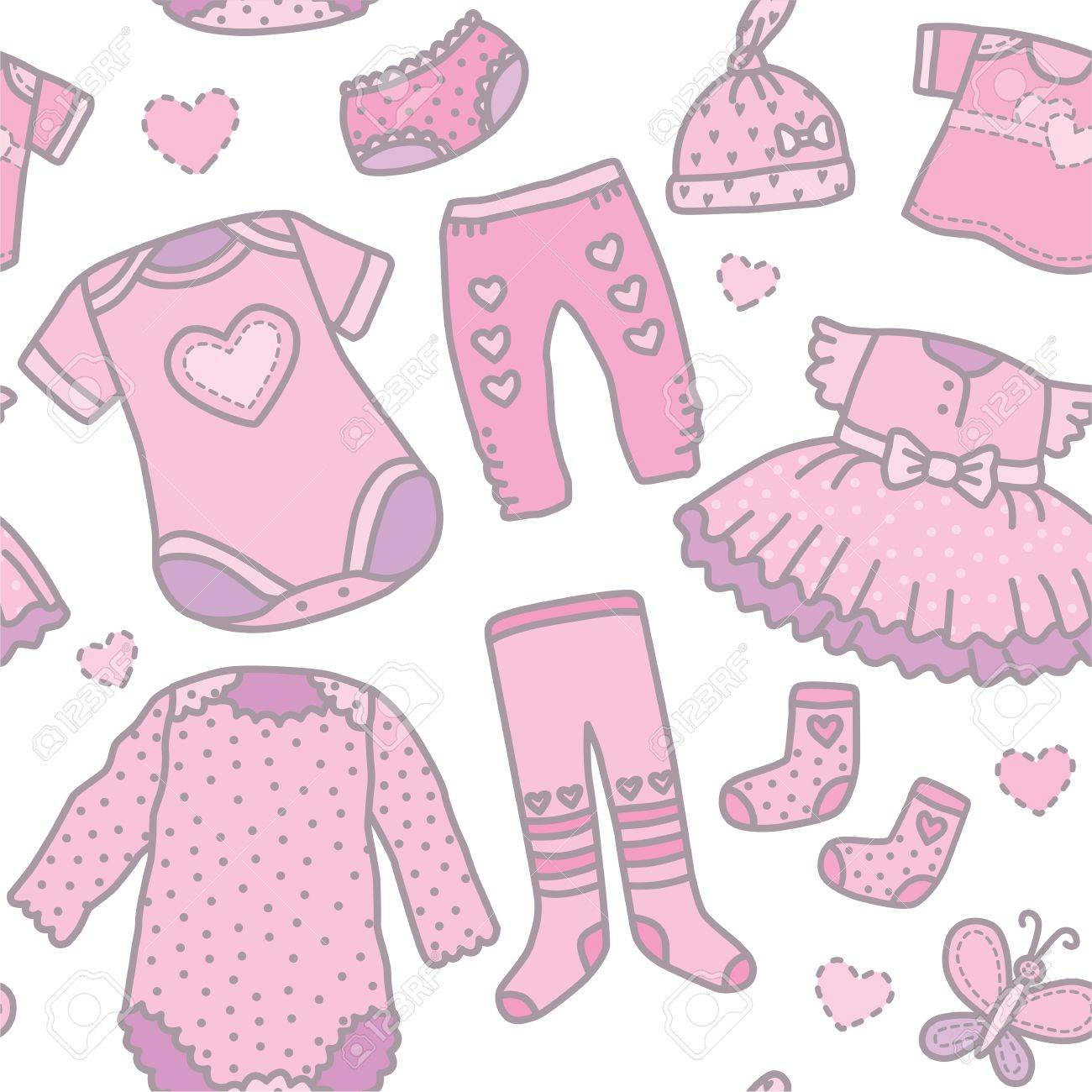 b44014cf104a Seamless Pattern Baby Girls Clothes. Eps10 Format Royalty Free ...