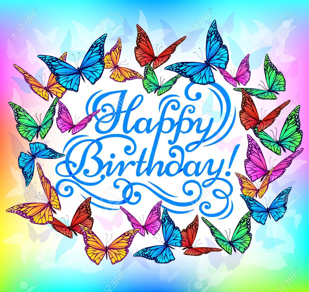 Joyeux Anniversaire Banniere Papillon Lumineux Clip Art Libres De Droits Vecteurs Et Illustration Image 65973293