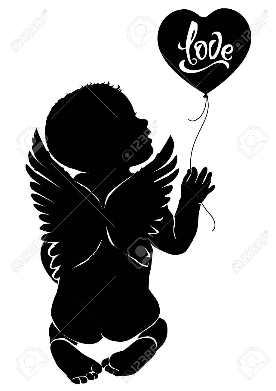 Black Baby Angel Vector