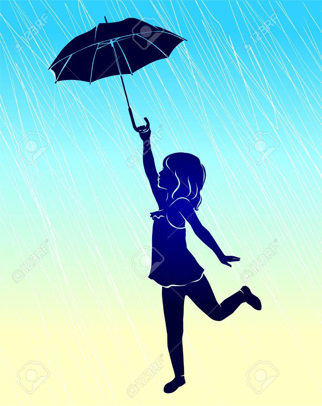 Silhouette Mädchen Mit Regenschirm Im Regen Lizenzfrei Nutzbare