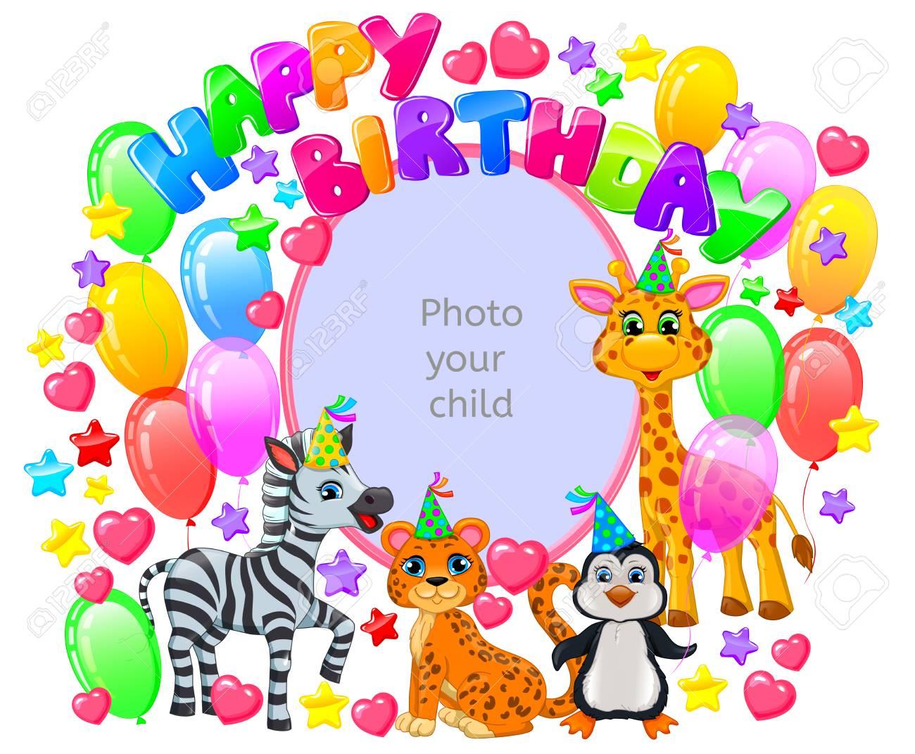 Cadre Anniversaire cadre d'anniversaire avec des animaux pour votre photo de bébé. clip