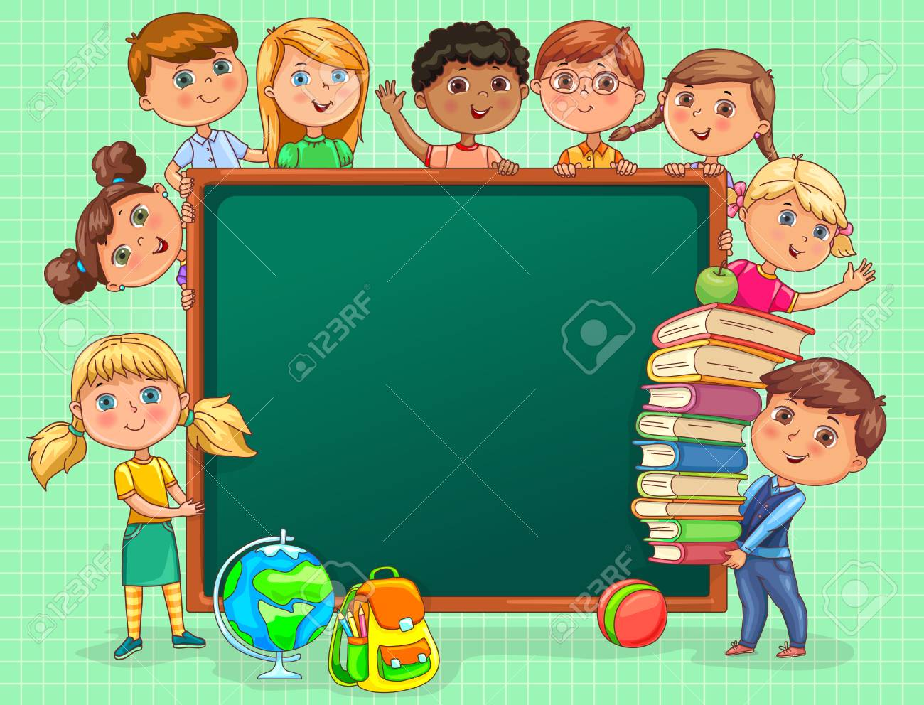 Cute Kids With School Board And Books. Royalty Free Cliparts ...