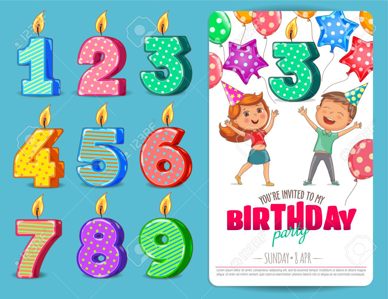 Birthday Numbers Candle With Kids Birthday Party Invitation Card