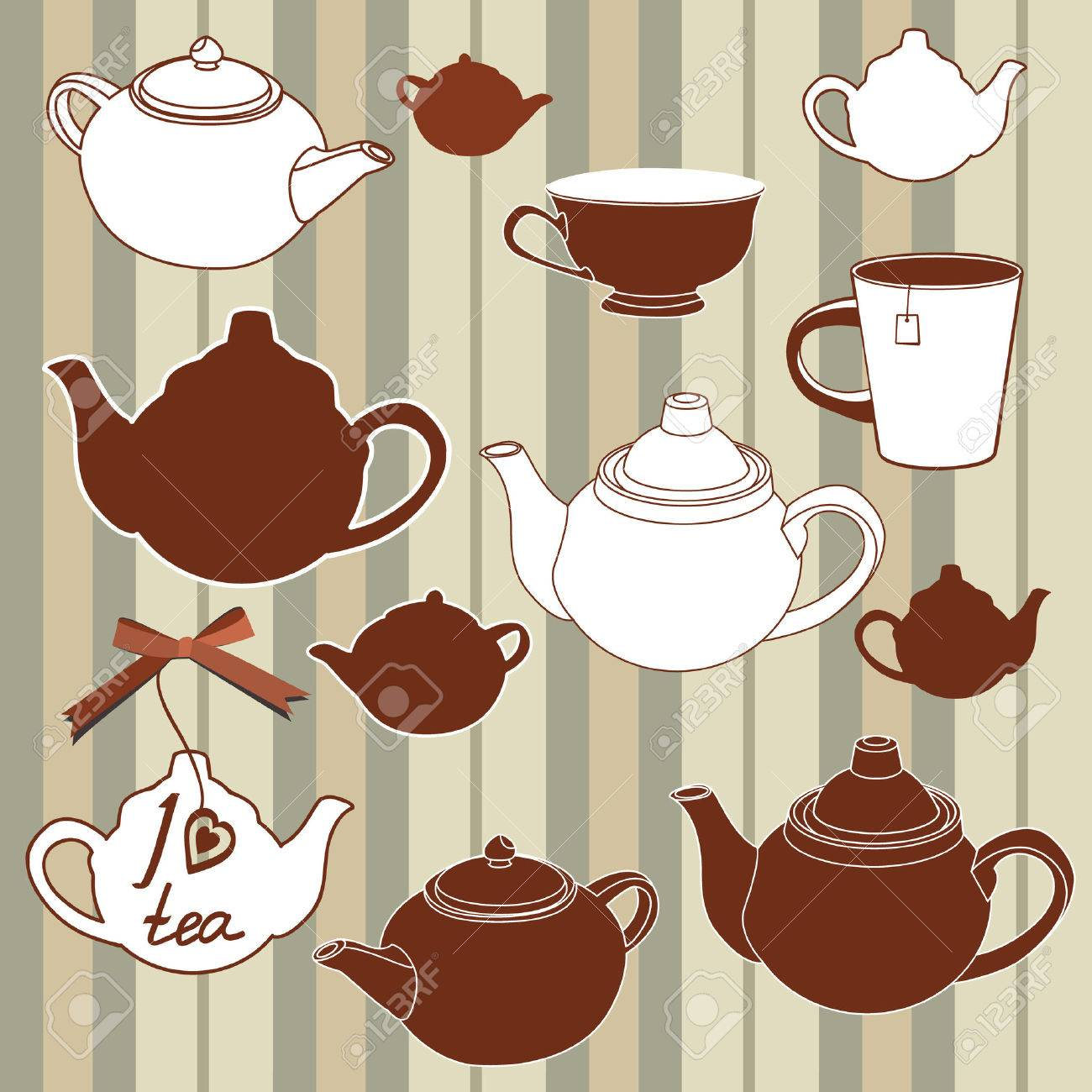 Teapots and cups seamless background Stock Vector - 7730202