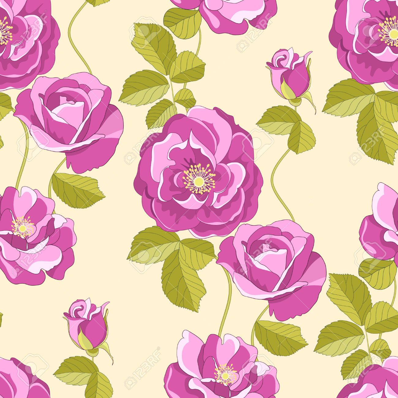 Roses seamless background Stock Vector - 7730207