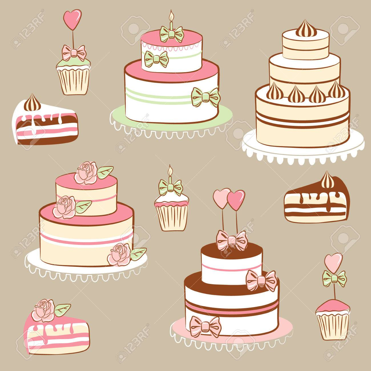 Pies and cakes Stock Vector - 7859112