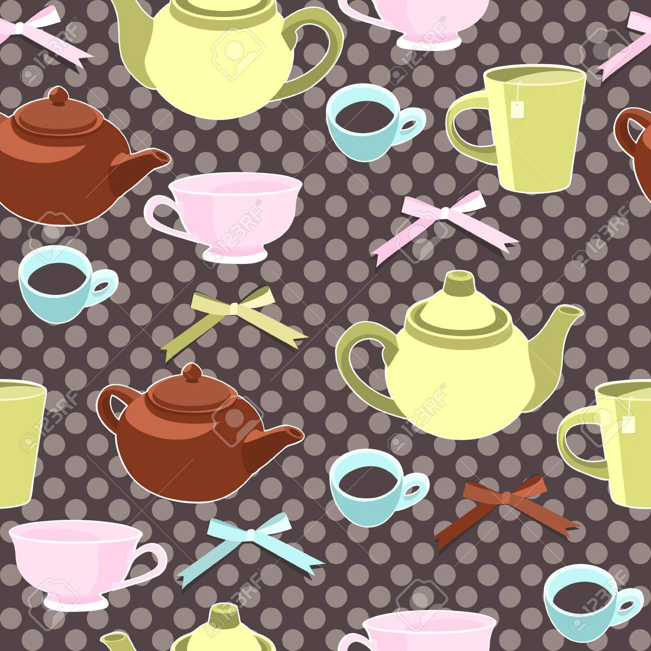 Teapots and cups seamless background Stock Vector - 7859107