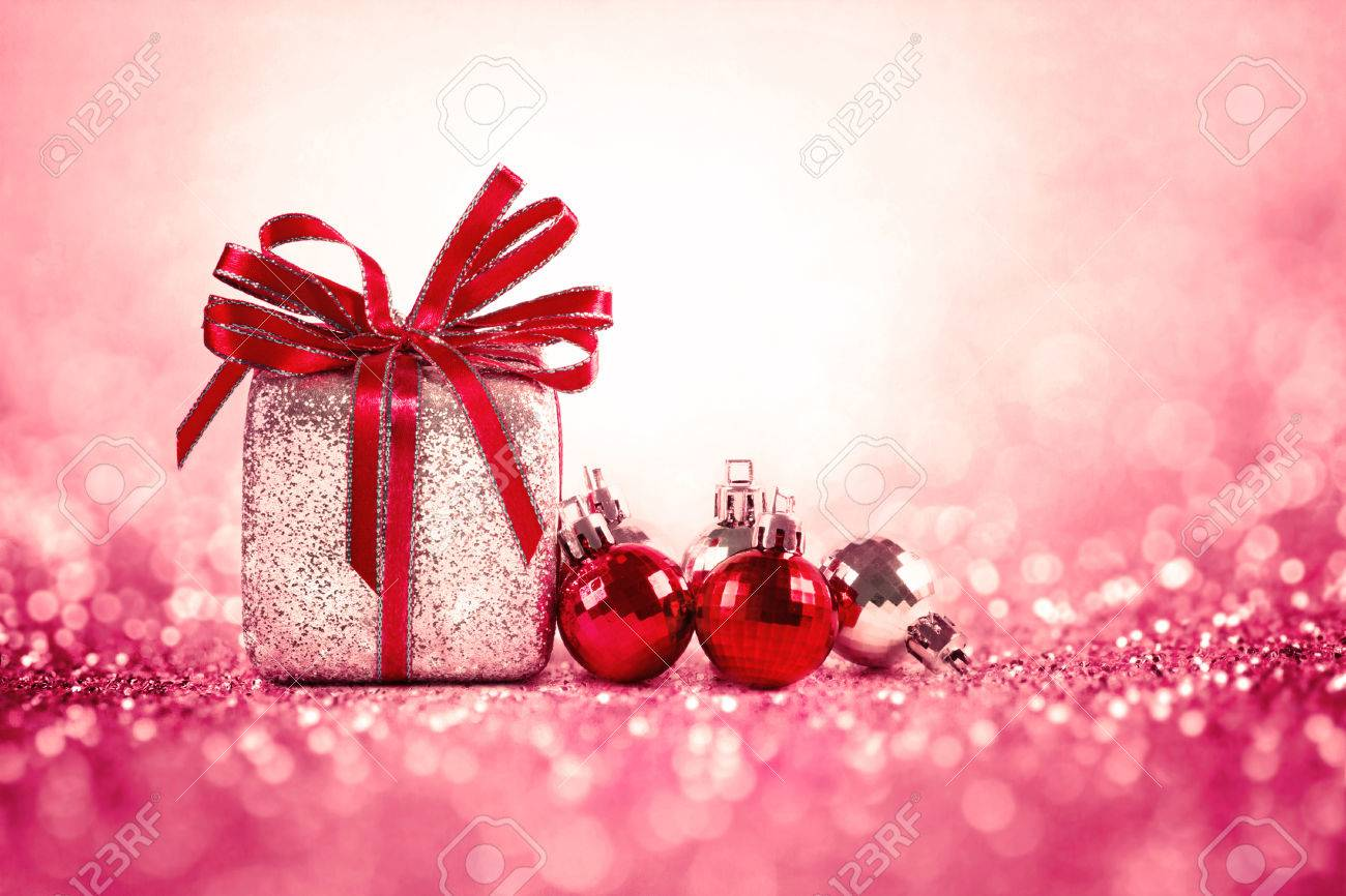 Silver And Red Christmas Balls And Gifts On Sweet Red Pink Glitter ...