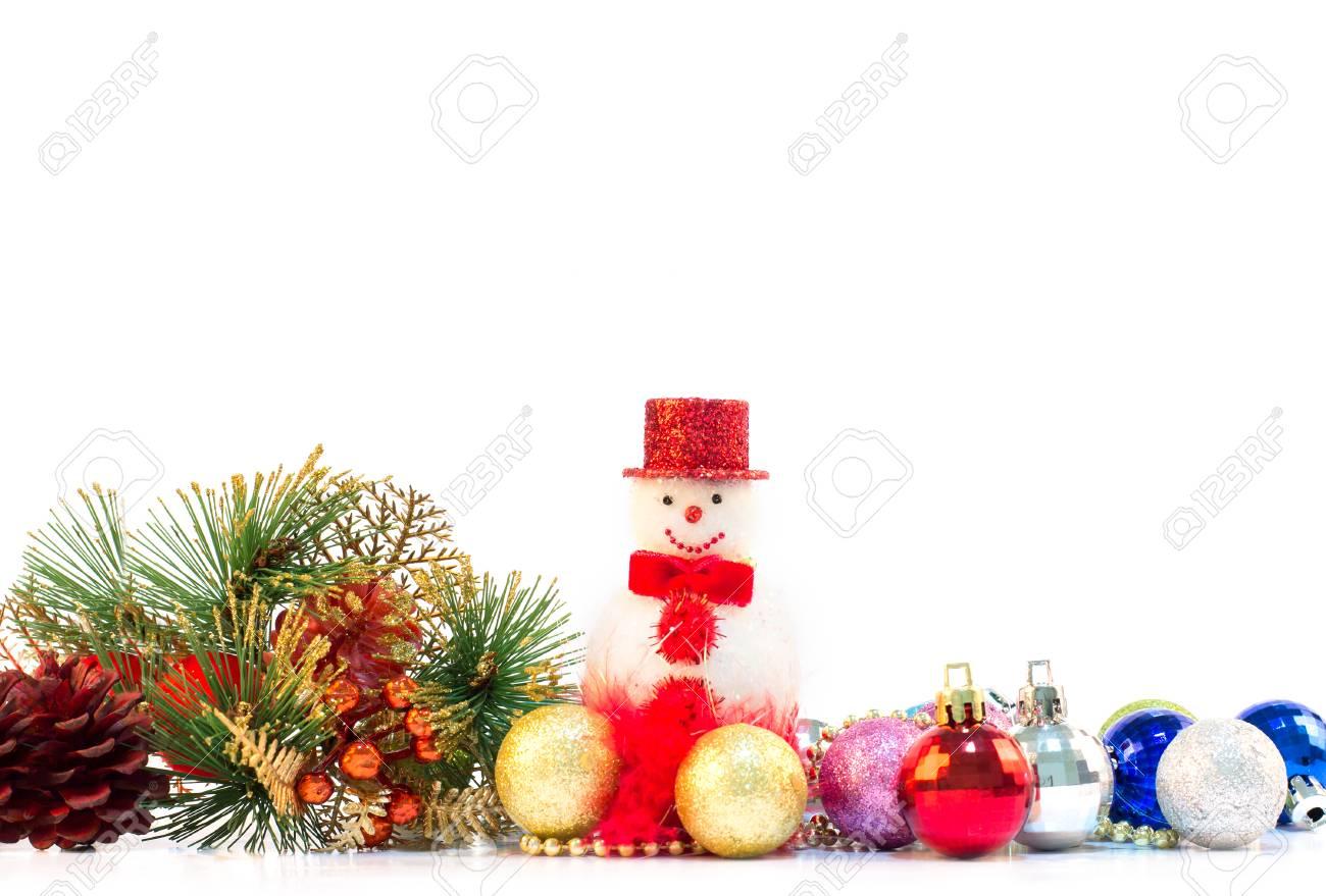 La Decoración De Navidad Sobre Fondo Blanco Como Frontera Marco ...