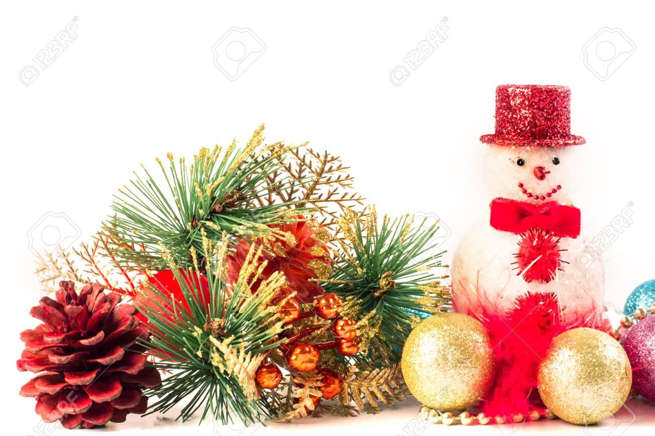 Cierre De La Decoración De Navidad En El Fondo Blanco Como Frontera ...