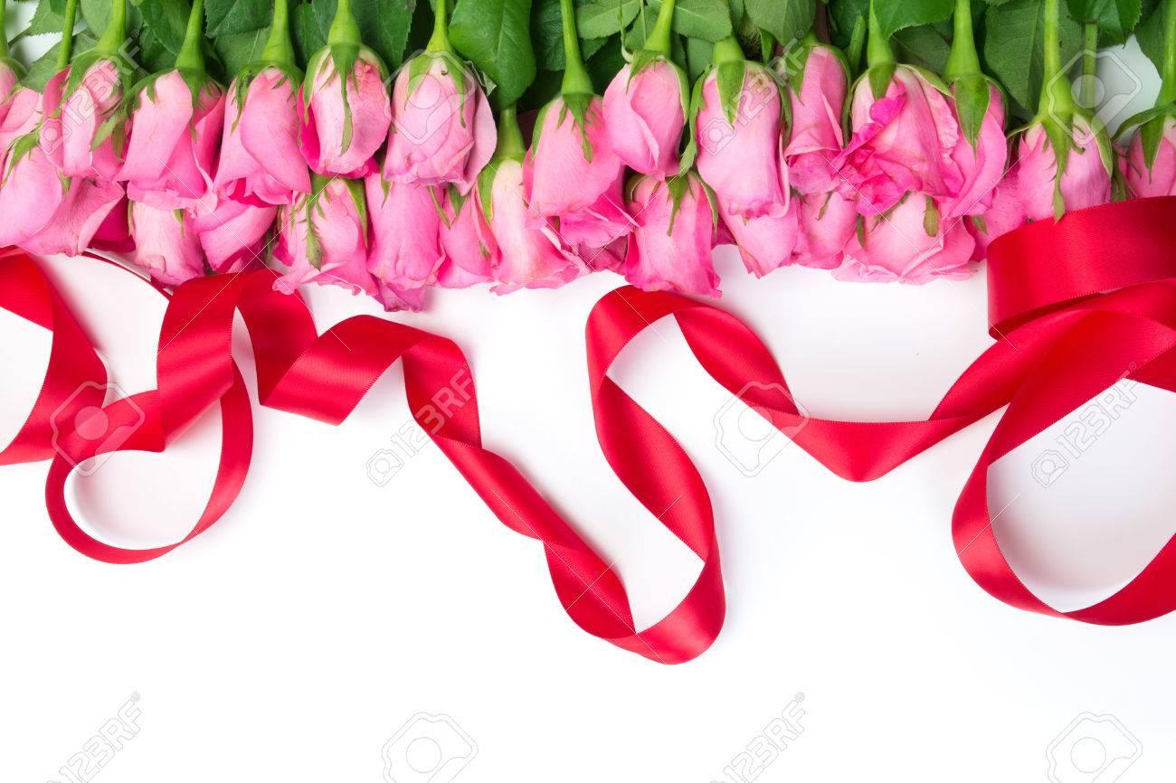 Frontière De La Belle Rose Douce Rose Fraîche Et Ruban Rouge Pour Lamour Romantique Valentine Background