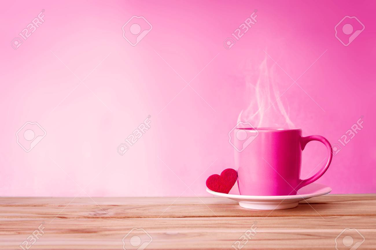 Pink Coffee Cup Mug With Red Heart Shape On Wooden Table Romance Stock Photo Picture And Royalty Free Image Image 86438099