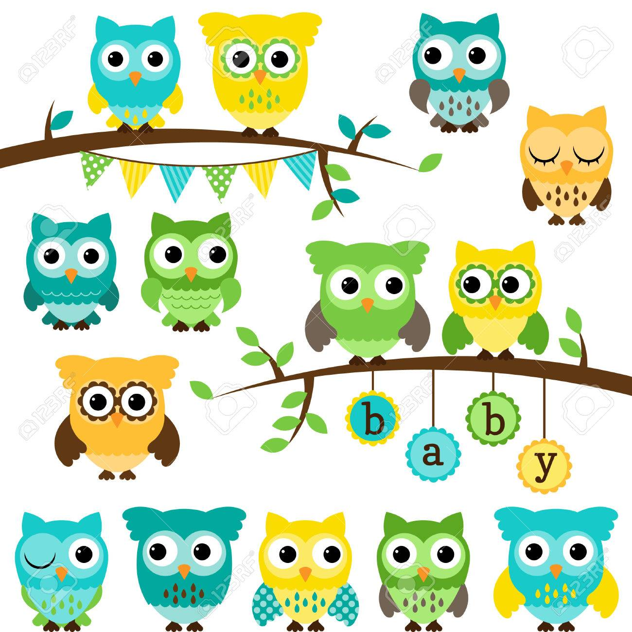 Collection Of Gender Neutral Baby Shower Themed Owls And Branches Royalty Free Cliparts Vectors And Stock Illustration Image 29821660