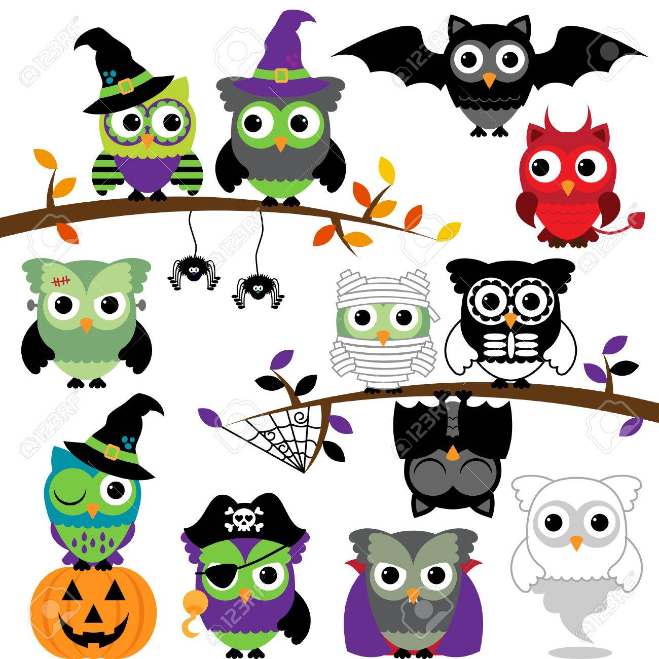 collection of spooky halloween owls royalty free cliparts, vectors