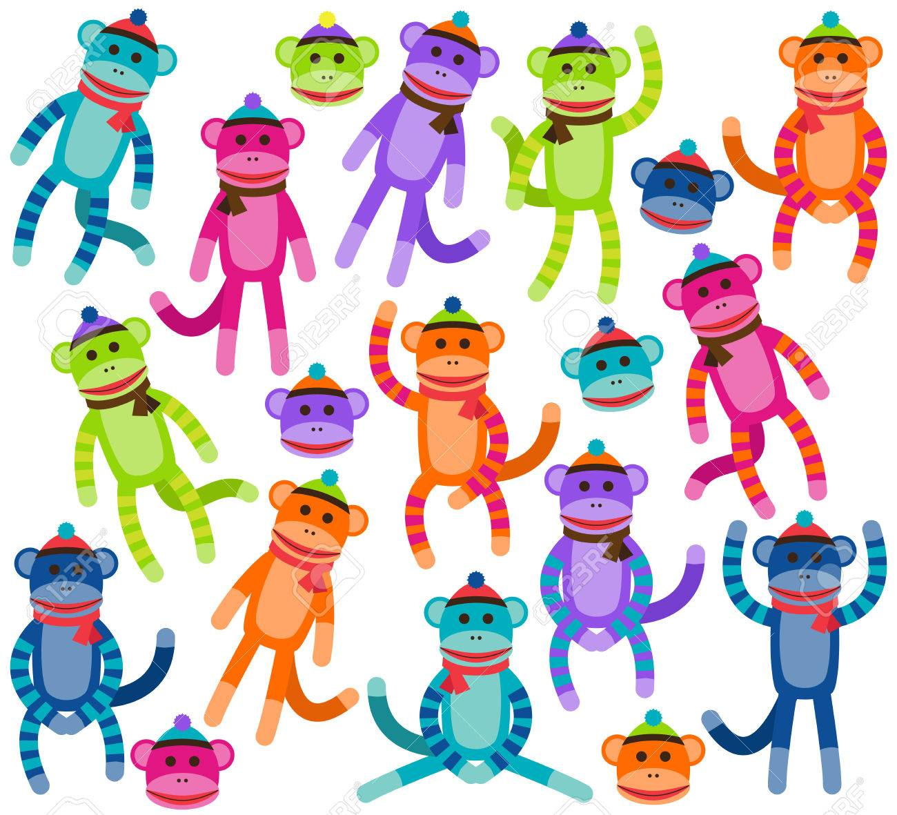 vector collection of cute and colorful sock monkeys royalty free rh 123rf com  free printable sock monkey clip art