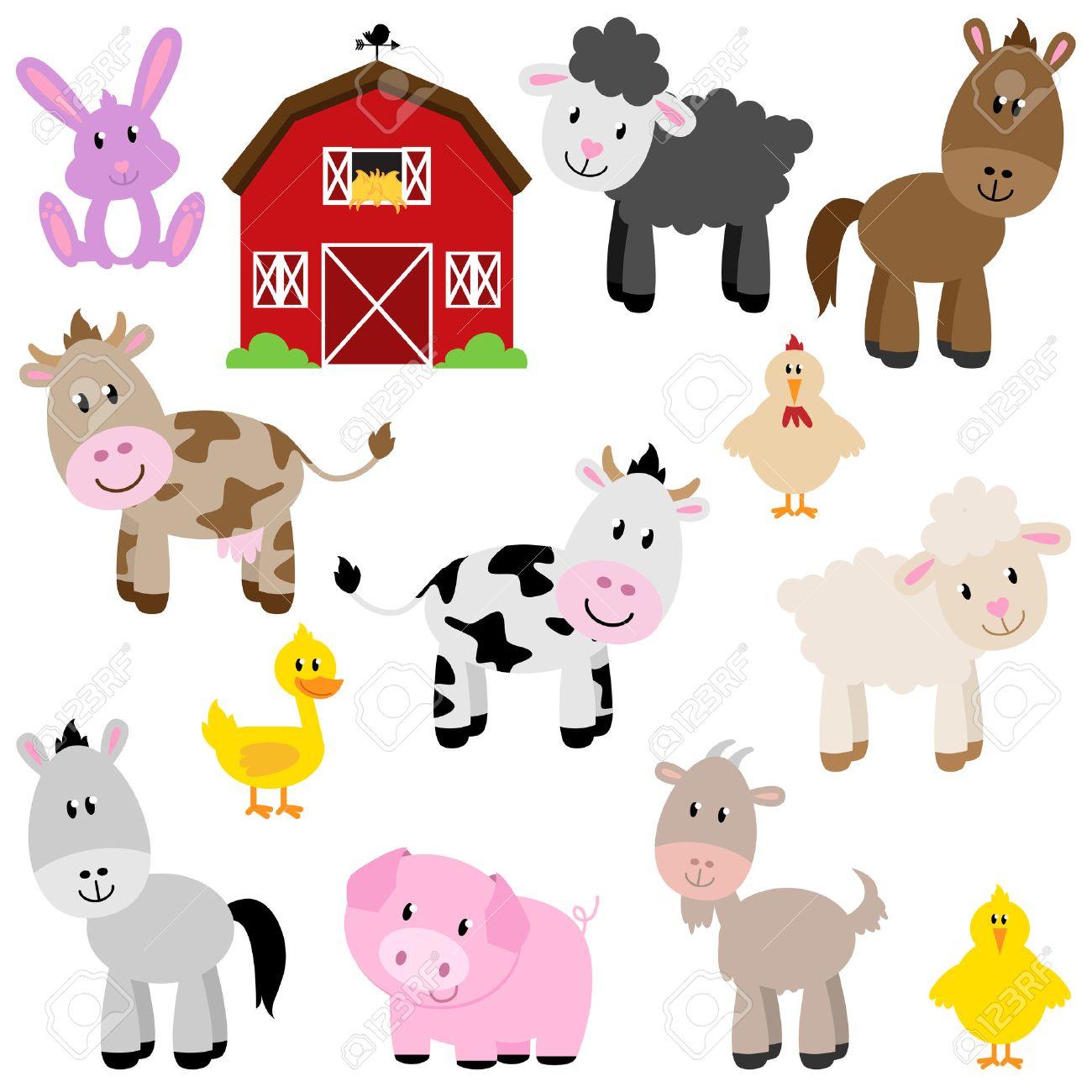 Vector Collection of Cute Cartoon Farm Animals and Barn Stock Vector - 29966159