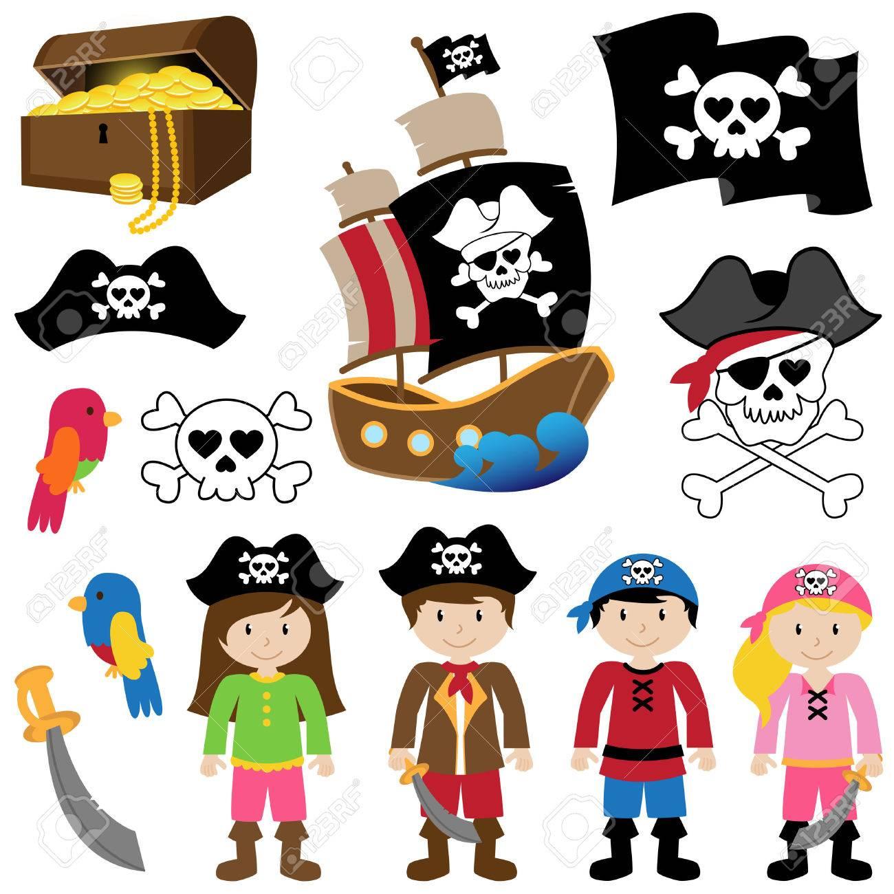Vector Illustration of Pirates - 29966332