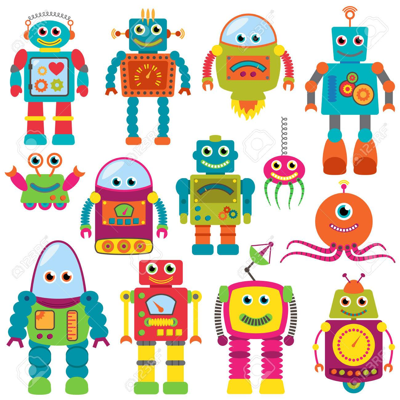 Vector Collection of Colorful Retro Robots - 29966339