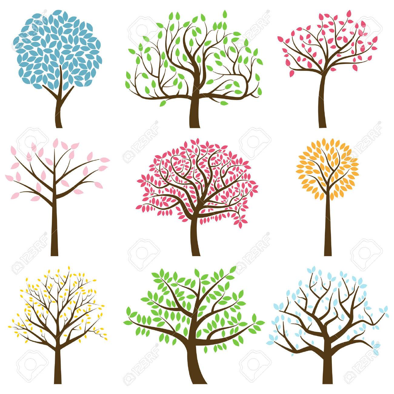 Vector Collection of Stylized Tree Silhouettes - 29966385