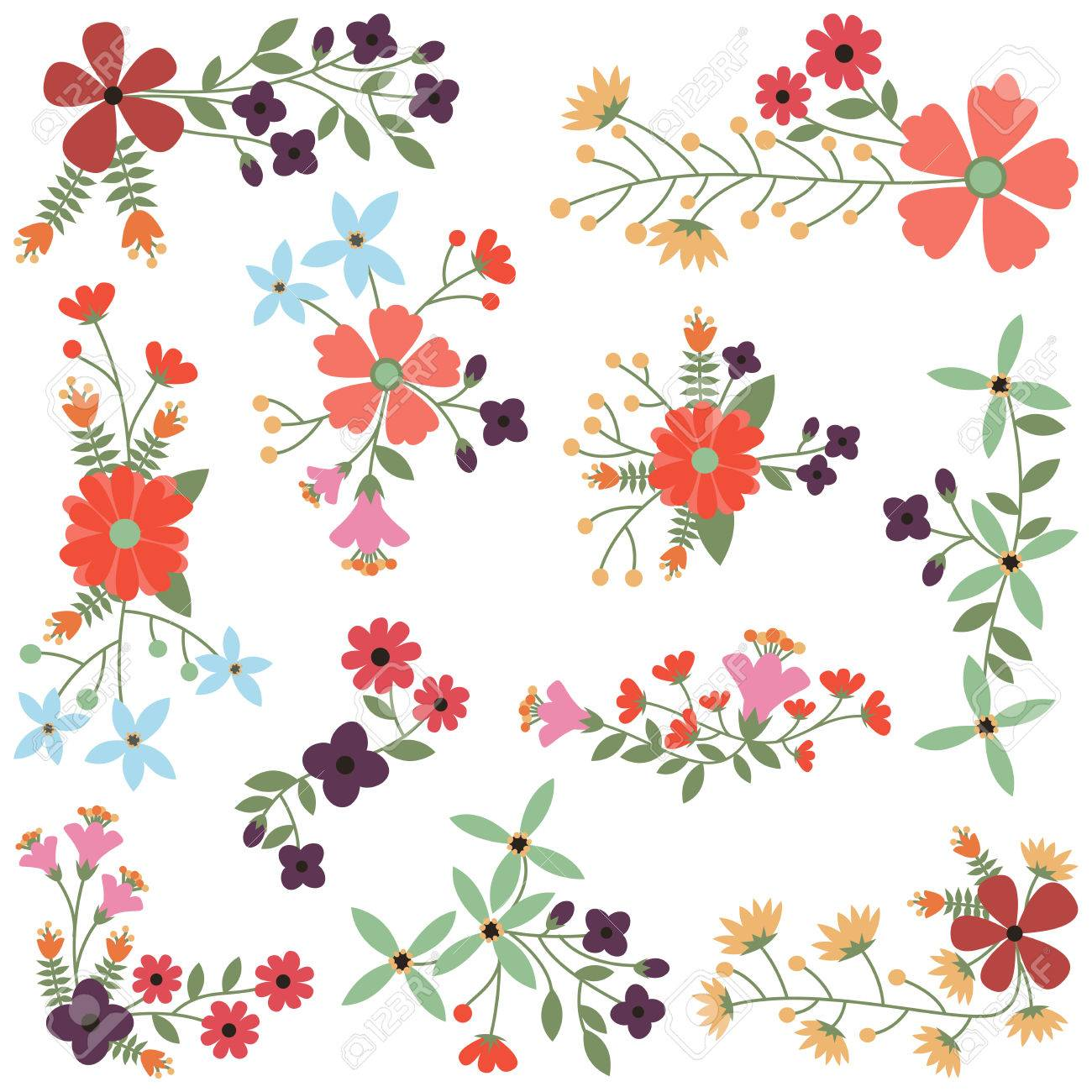 Vector Set of Vintage Style Flower Clusters - 29966409