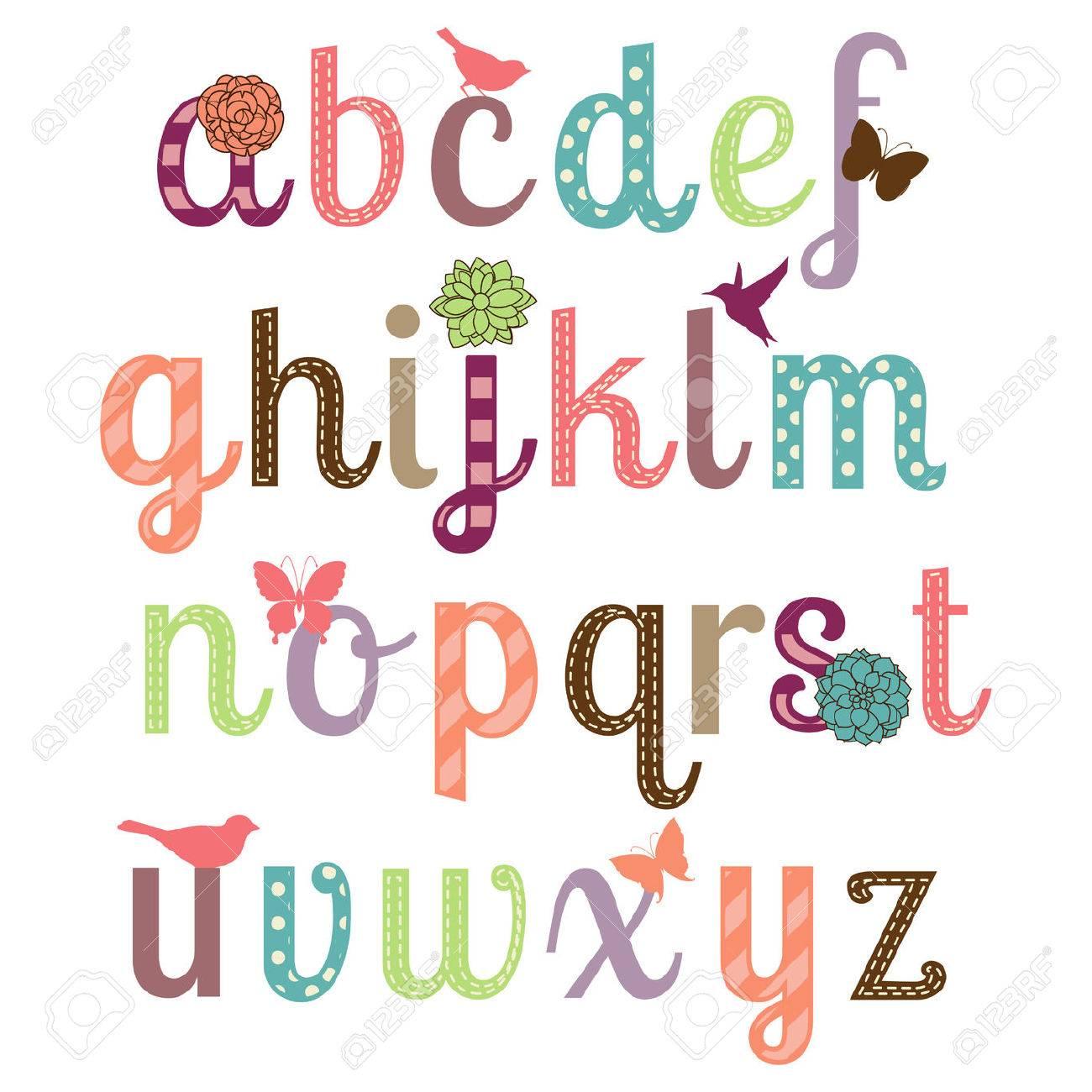 Girly Alphabet Vector Set Stock