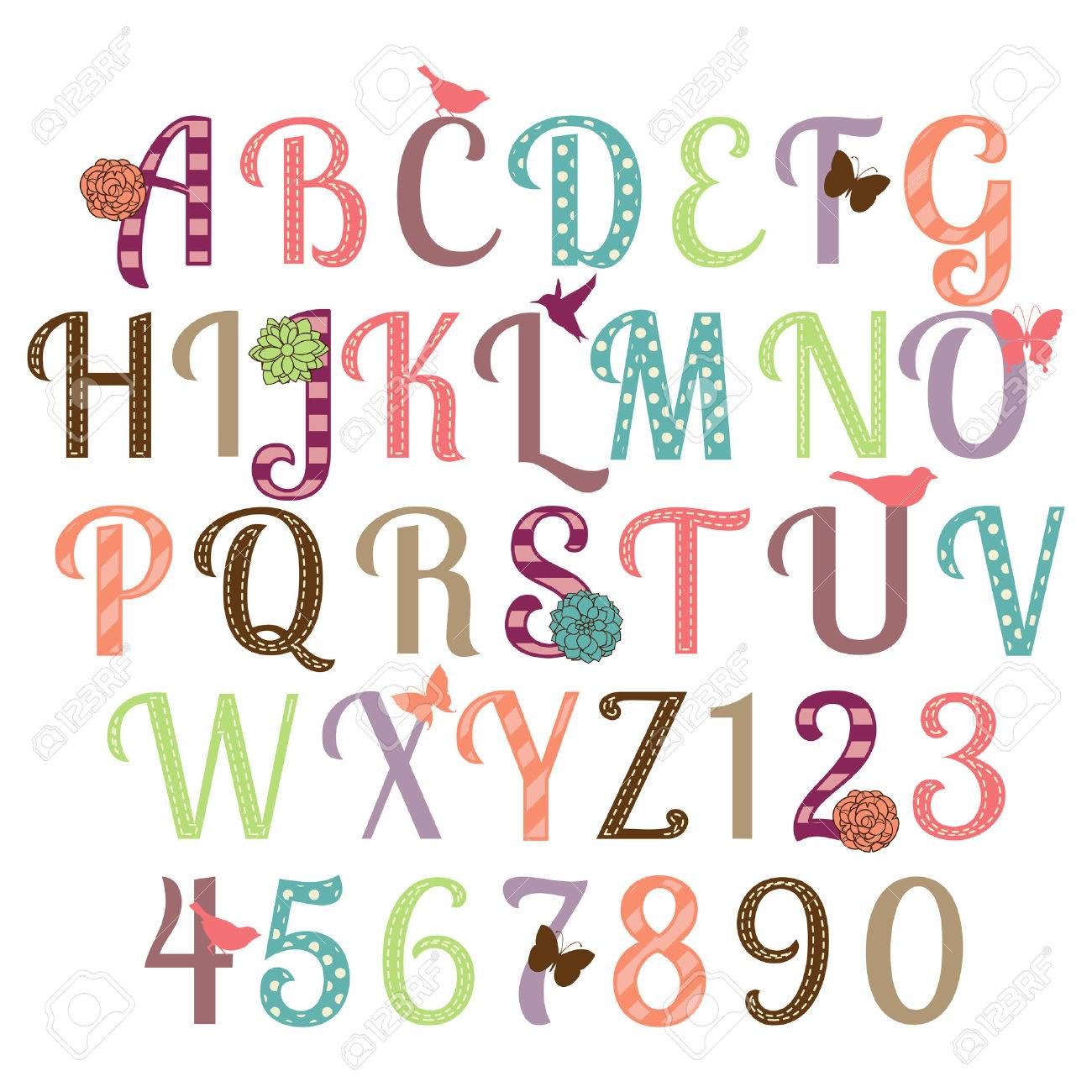 Girly Alphabet Vector Set Royalty Free Cliparts Vectors And Stock