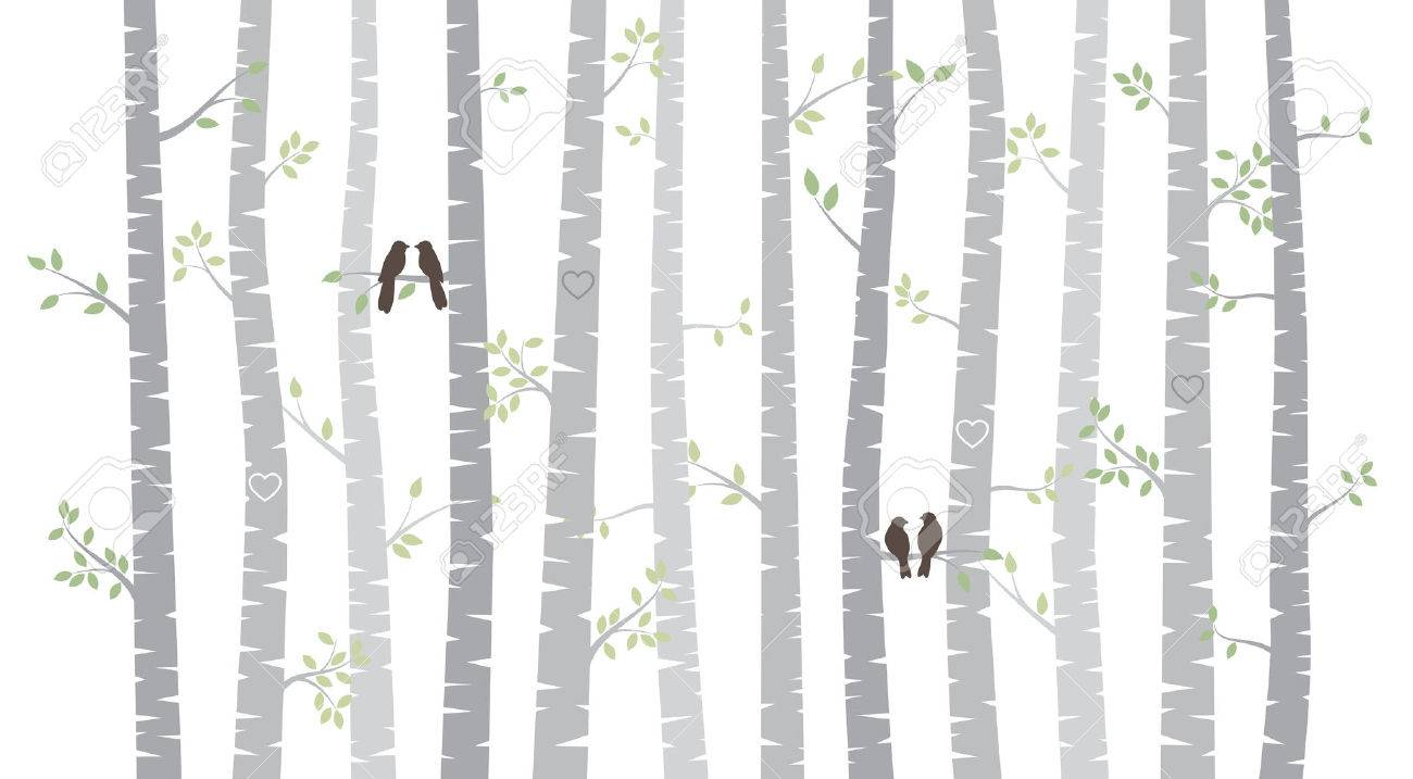 Vector Birch or Aspen Trees with Autumn Leaves and Love Birds - 31787397