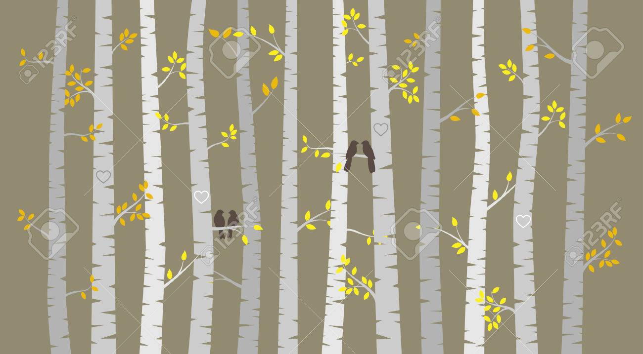 Vector Birch or Aspen Trees with Autumn Leaves and Love Birds - 31787401