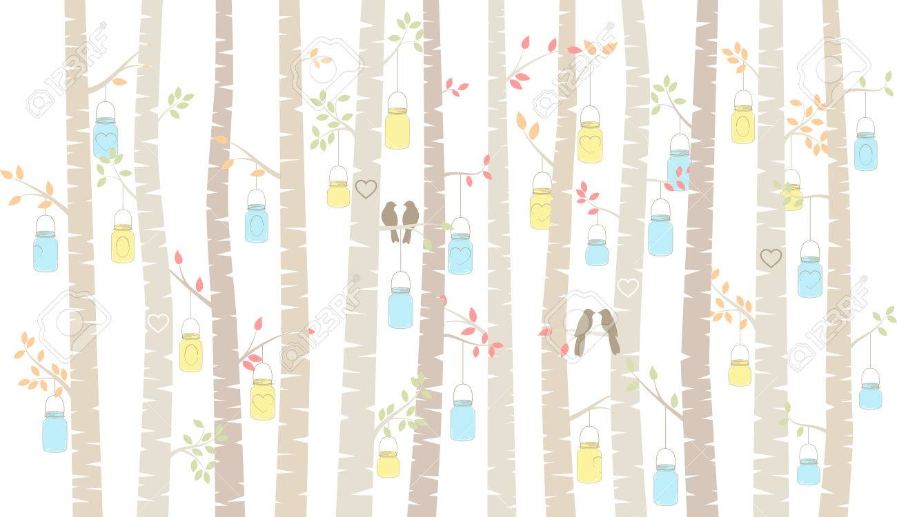 Hanging Mason Jars Birch Or Aspen Trees With Hanging Mason Jars And Love Birds